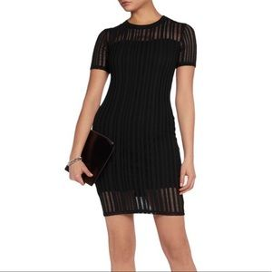 T By Alexander Wang Black Perforated Cotton Dress